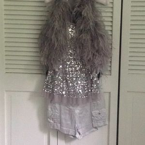 Other - 3 peices shorts, tank, feather vest silver $50
